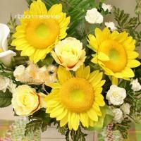 【送料無料】ひまわり&バラとカラーのシルクフラワー(造花)アレンジメント FL-SF-343