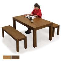 パイン材特有の趣のある節目模様と、重厚感のあるオール パイン無垢材を使用したダイニングテーブルセット...