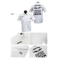 スラッシャー THRASHER ワークシャツ 半袖シャツ SEEN S/S WORK SHIRTS ブラック 黒 ストライプ チャコールグレー ホワイト 白 メンズ レディース
