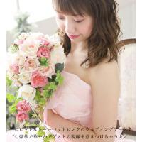造花 ブーケ(ウエディングブーケ)ブートニア 髪飾りの7点セット!結婚式 披露宴 の花嫁 新婦さんにブーケと花かんむり ヘッドドレス