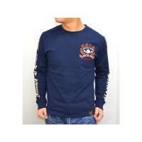 VANSON バンソン×クローズ WORST T.F.O.A 武装戦線 コラボ長袖Tシャツ クロスボーンファイヤースカル 刺繍  CRV-602 ダークネイビー色