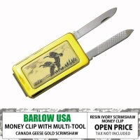 BARLOW MONEYCLIP w/ KNIFE AND FILE GOLD CANADA GOO...