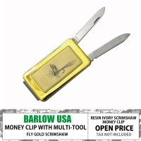 BARLOW MONEYCLIP w/ KNIFE AND FILE GOLD FLY FISHIN...