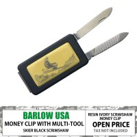 BARLOW MONEYCLIP w/ KNIFE AND FILE BLACK SKIER  19...
