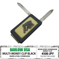 BARLOW MONEYCLIP w/ KNIFE AND FILE BLACK MARE &amp...