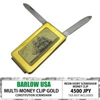 BARLOW MONEYCLIP w/ KNIFE AND FILE GOLD CONSTITUTI...