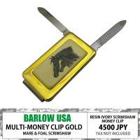 BARLOW MONEYCLIP w/ KNIFE AND FILE GOLD MARE &...