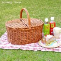 本州四国は送料込 籐 かご ピクニックバスケット ふた付き 蓋付き ラタン Mサイズ 送料無料 かごのお店ラッセル 622