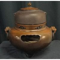 WAI223 鬼面風炉 鉄瓶 茶道具 中古 茶釜