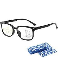 YAKIDA 老眼鏡 めがね 遠近両用 ブルーライトカット UVカット 超軽量 ケース めがね拭き付き  (度数+1.50, ブラック)