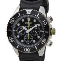 セイコー ソーラー クロノグラフ ダイバーズ 腕時計 SEIKO SSC021P1 ブラック ラバー...