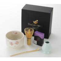 送料無料 かわいい花柄の抹茶碗 お抹茶セット 5点 茶筅直し付き 抹茶セット 茶道具