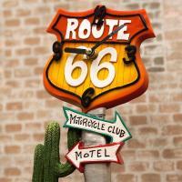 アメリカのマザーロード ルート66シリーズ! レトロなポップでファンキーな置時計!! 国道の道路標識...