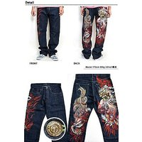 プレミアム手描きジーンズ「炎獅子」◆禅/和柄