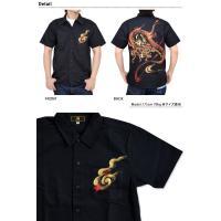 手描き半袖シャツ 赤龍 禅 和柄 和風 送料無料 手書き 竜 ドラゴン 京都 メンズ KSS031
