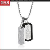 DIESELのロゴとブレイブマン、2種類のドッグタグが連なったネックレス  ■商品名:ディーゼル ロ...