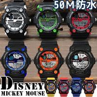 【ゆうパケ可】【disney_y】ミッキー デジタル 腕時計 ブラック ラバー ベルト 50M防水機...