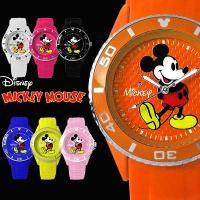 【ゆうパケ可】  商品名:3Dミッキーシリコン腕時計 全7色 回転ベゼル スワロフスキー ラバー メ...
