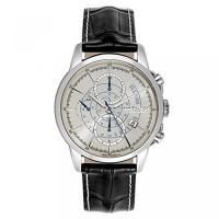 ■商品詳細 Silver chronograph dialBlack leather strapan...