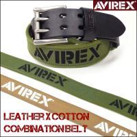 """ミリタリーブランド""""AVIREX""""のレザーベルト。  レザーと、コットンキャンバスを組み合わせたコン..."""