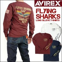 """ミリタリーブランド""""アヴィレックス""""のロンT。  """"FLYNG SHARKS""""という架空部隊を設定し..."""