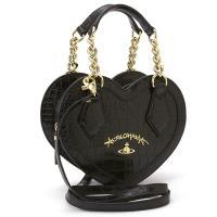 ハート形のボディがぱっと目を惹く、ヴィヴィアン「アングロマニア」ラインのハンドバッグです。クロコ風型...