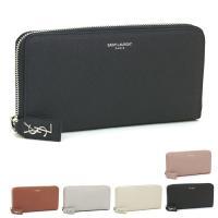 しっかりした手触りの上質素材が高級感を醸し出す、サンローランの長財布。中身がこぼれにくいラウンドファ...