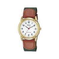 シンプルなフェイスで飽きのこないスタンダードな腕時計です。  バンドはカジュアル感を少し演出したレザ...