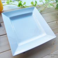 真っ白な清潔感あふれる白い食器の 超高温1300℃Temperature焼成 スクエアパスタカレーデ...