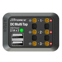 DC接続ポート3口、USBポート2口を備えたポータブルDC電源分配ユニットです。持ち運びに便利な超コ...