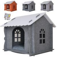 キャットハウス (クッション、カーテン、窓付き) 組み立て式