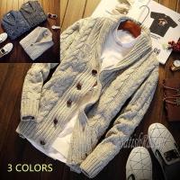 カーディガン メンズ ニットジャケット ニットセーター ニットカーディガン アウター 春 秋 冬 セーター 編み 無地 ショート丈 大きいボタン 紳士トップス