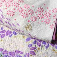 振袖 手縫いお仕立て付き ブライダルファッションデザイナー「桂由美」監修 十日町「関芳」製 白黒色、青紫色 幻想的な吹き寄せ 送料無料 ブランド振袖