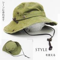 UVカット帽子 ハット つば広  レディース 大きいサイズ アウトドアハット  2WAY サファリハット 帽子 風飛ばない