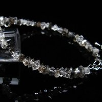 スティブナイト(輝安鉱)入り|ハーキマーダイヤモンド水晶ブレスレット
