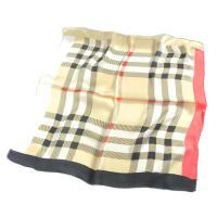 訳あり シルク100%スカーフ タータンチェック柄 約50cm正方形 バーバリーチェック柄 赤×黒