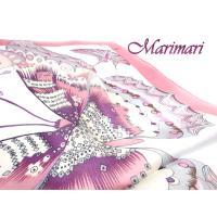 訳あり  シルクスカーフ デフォルメされた大きな蝶柄 カラフルトリミング  5色展開  ピンク色 トリミング