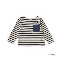 petit main / プティマイン 【DISNEY】 ポケットミッキーデザイン ボーダーTシャツ