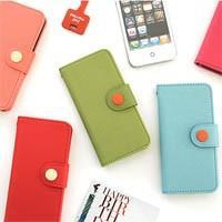 [韓国雑貨] カード2枚も収納OK♪ ビビットカラーのボタンケース [iPhone5専用] ◆ [ス...