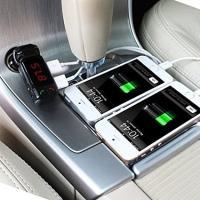 FMトランスミッター Bluetooth 充電用 USB 2ポート出力付き マイク内蔵 車 SUV トラック バス 12V~24 v対応 ウォークマン ワイヤレス スマホ iPhone カー用品|sevenfox|03