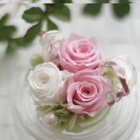 枯れないお花、プリザーブドフラワーのバラを3りん使用した可愛い手のひらサイズのアレンジです。 こぶり...
