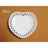ハートレースプレートM 透かし アクセサリートレイ 皿 アウトレット 洋食器 ハート皿 白磁 かわいい ポーセリンアート ポーセラーツ