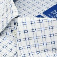 新体型 半袖 ワイシャツ 形態安定 ドゥエボットーニ スナップダウン 綿100% 白×ブルーチェック