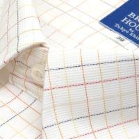 新体型 半袖 ワイシャツ 形態安定 ボタンダウン 白×ブラウン、ネイビーチェック