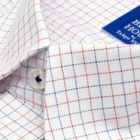 新体型 半袖 ワイシャツ 形態安定 ボタンダウン 白×ブルー、エンジチェック