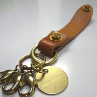 キーホルダー メンズ 真鍮 牛革 日本製 送料無料
