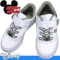 ディズニー「ミッキー&ミニーマウス」のキッズシューズ。 アッパーに「ミッキー&ミニー」のイラストを大...
