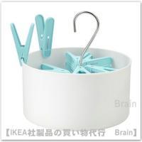 ■カラー:ホワイト/ブルー  ■主な特徴 - バスケットはフックで物干しざおや洗濯ひもに掛けられるの...
