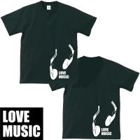 文字変更可能!!(英数文字)LOVE MUSICヘッドホンTシャツ・ブラック|shop-seed