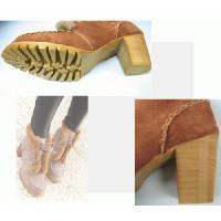 ショートブーツ OJI靴 おじ靴 スエード調 ファー付き 編み上げ レースアップ od